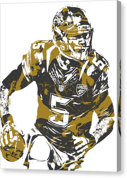 Jacksonville Jaguars Canvas Print - Blake Bortles Jacksonville Jaguars Pixel Art 13 by Joe Hamilton