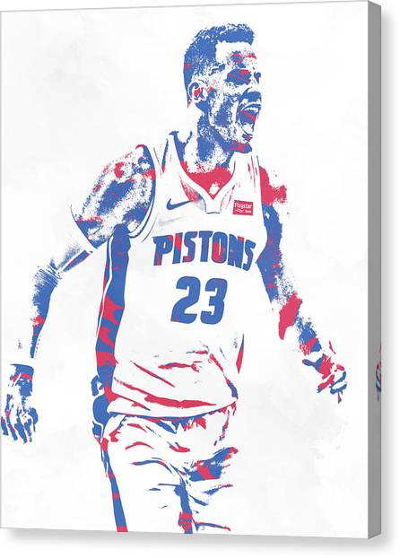Detroit Pistons Canvas Print - Blake Griffin Detroit Pistons Pixel Art 2 by Joe Hamilton
