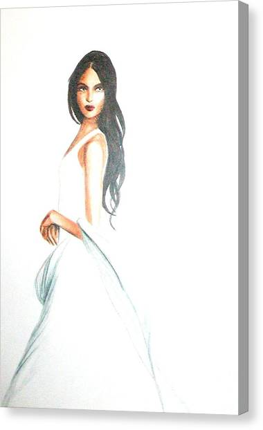 Canvas Print featuring the drawing Blanca by MB Dallocchio