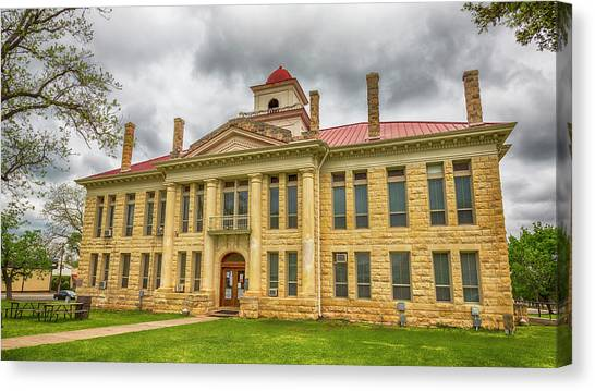 Lyndon Johnson Canvas Print - Blanco County Tx Courthouse  by Stephen Stookey
