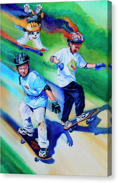 Children And Dog Canvas Print - Blasting Boarders by Hanne Lore Koehler