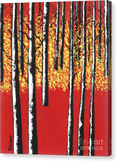 Blazing Birches Canvas Print