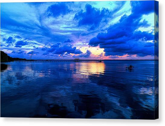 Blazing Blue Sunset Canvas Print