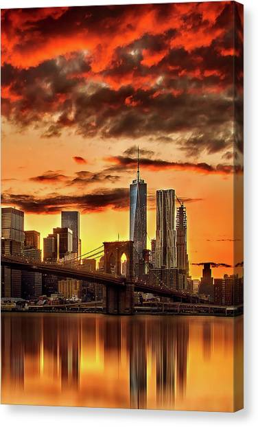 New York Skyline Canvas Print - Blazing Manhattan Skyline by Az Jackson