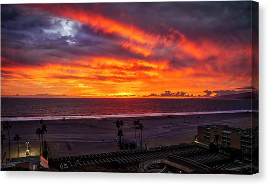 Blazing Sunset Over Malibu Canvas Print