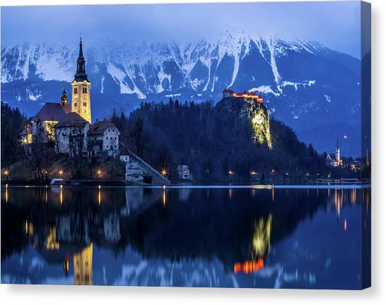 Bled Lake At Blue Hour Canvas Print by Vyacheslav Isaev