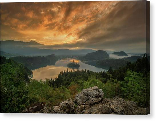 Mountain Sunrises Canvas Print - Bled On Fire by Martin Podt