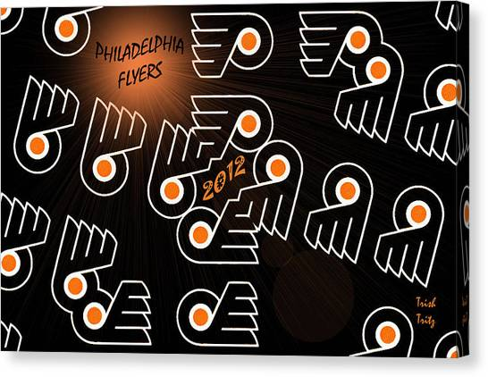 Bleeding Orange And Black - Flyers Canvas Print