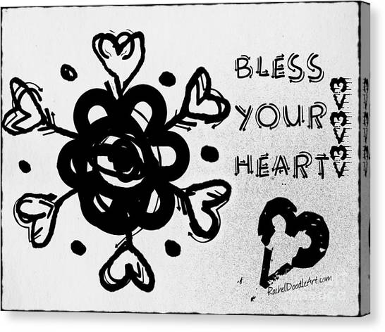 Canvas Print featuring the drawing Bless Your Heart by Rachel Maynard