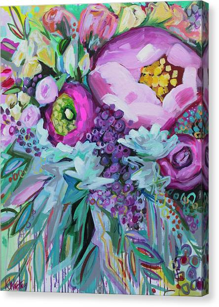 Wedding Bouquet Canvas Print - Blessings Come From Raindrops by Kristin Whitney