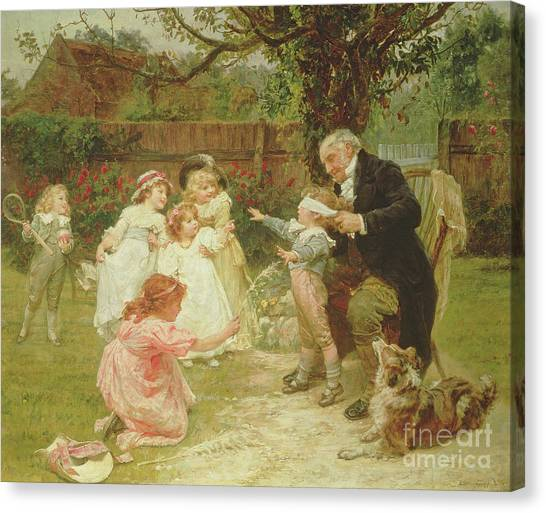 Grandpa Canvas Print - Blind Man's Buff by Frederick Morgan