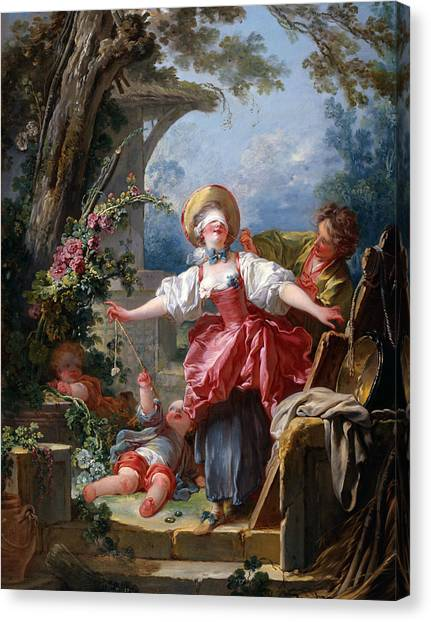 Rococo Art Canvas Print - Blind-man's Buff by Jean-Honore Fragonard