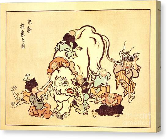 Blind Monks Examining An Elephant Canvas Print