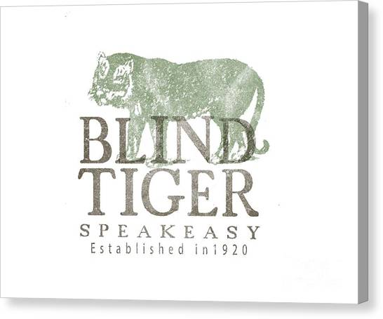 Tee Shirt Canvas Print - Blind Tiger Speakeasy Tee by Edward Fielding