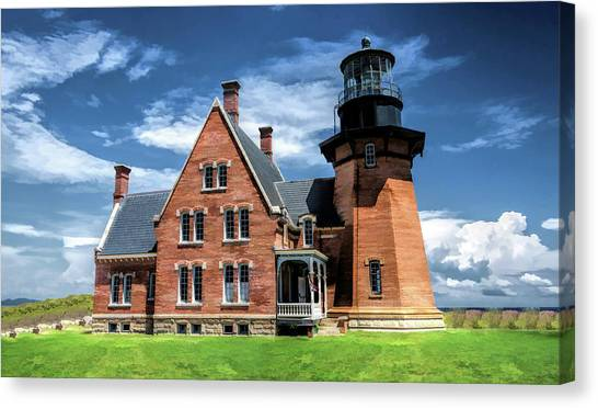 Canvas Print featuring the painting Block Island Southeast Lighthouse by Christopher Arndt