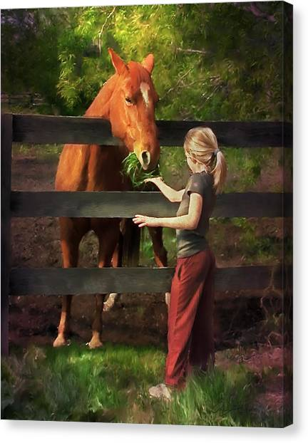 Blond With Horse Canvas Print