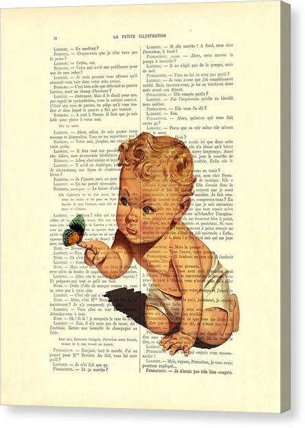 Cherub Canvas Print - Baby Boy With Butterfly Nursery Art by Madame Memento