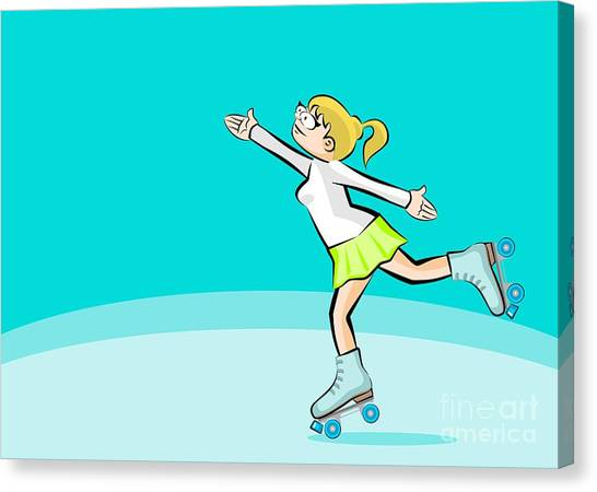 Skates Canvas Print - Blonde Girl Skating by Daniel Ghioldi