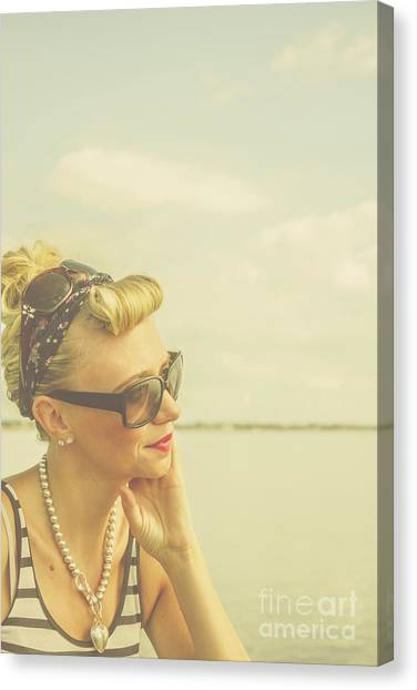 Thoughful Canvas Print - Blonde Pin Up Girl With Nostalgia by Jorgo Photography - Wall Art Gallery
