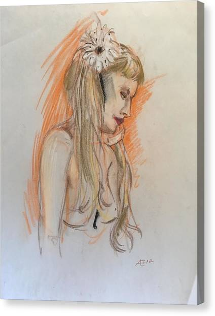 Blonde With White Flower Canvas Print by Alejandro Lopez-Tasso