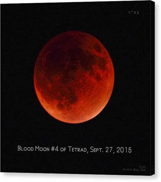 Blood Moon #4 Of Tetrad, Without Location Label Canvas Print