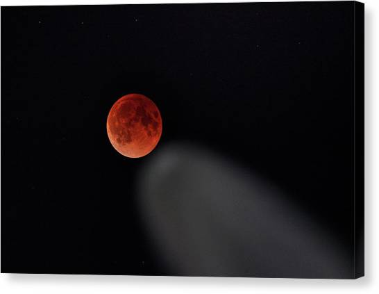 Canvas Print featuring the photograph Blood Moon Comet by Quality HDR Photography