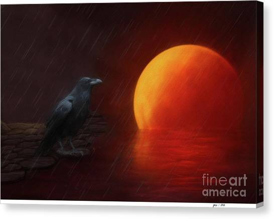 Blood Moon Crow Canvas Print