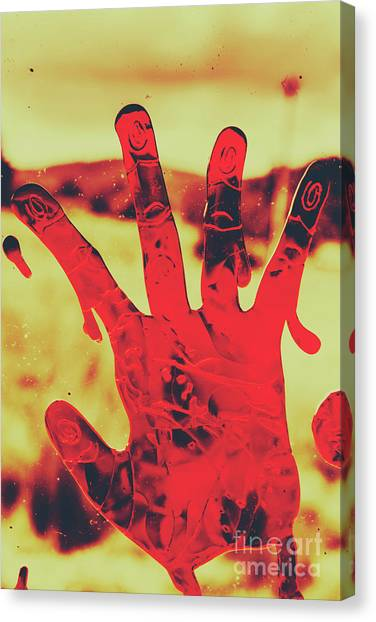 Blood Canvas Print - Bloody Halloween Palm Print by Jorgo Photography - Wall Art Gallery