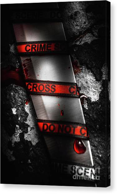 Police Canvas Print - Bloody Knife Wrapped In Red Crime Scene Ribbon by Jorgo Photography - Wall Art Gallery