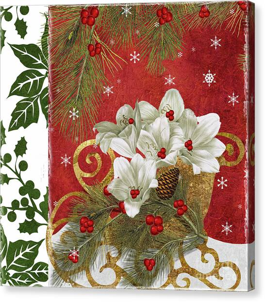 Amaryllis Canvas Print - Blooming Christmas II by Mindy Sommers