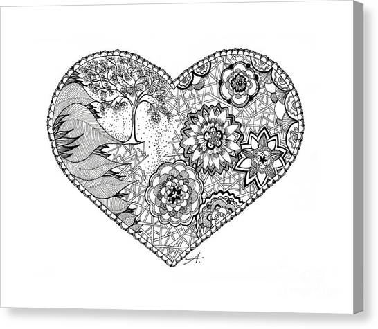 Zentangle Flower Canvas Print