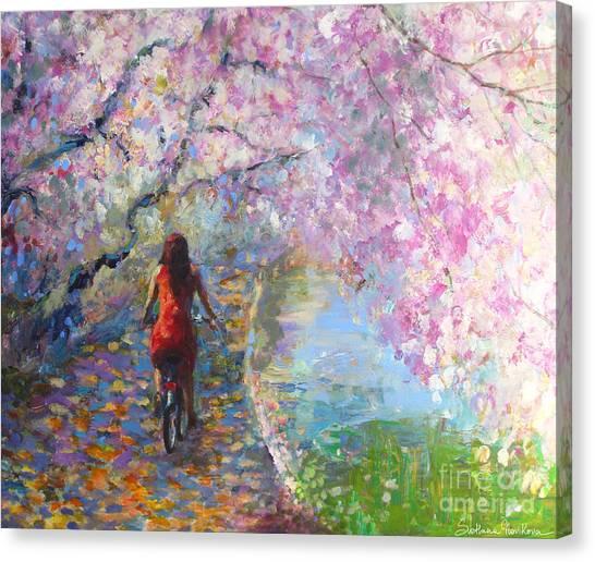 Acrylic On Canvas Print - Blossom Alley Impressionistic Painting by Svetlana Novikova