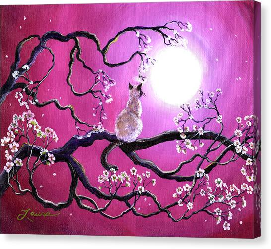 Siamese Canvas Print - Blossoms In Fuchsia Moonlight by Laura Iverson
