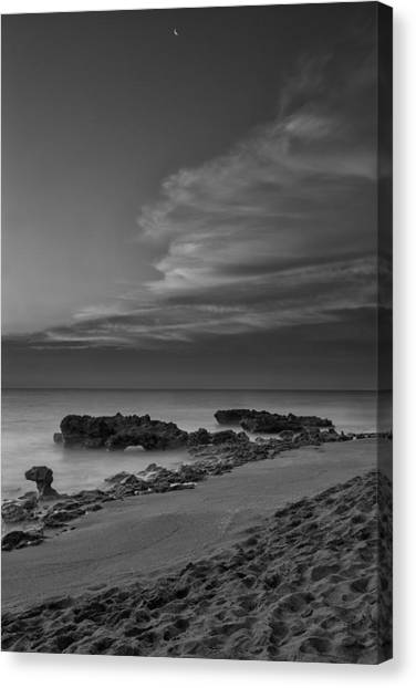 Blowing Rocks Black And White Sunrise Canvas Print