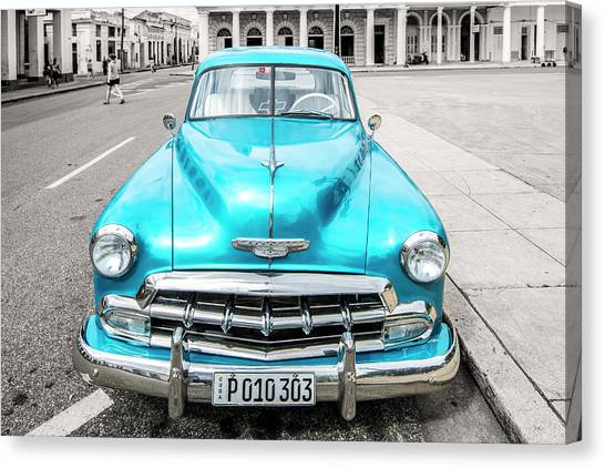 Canvas Print featuring the photograph Blue 52 by Lou Novick
