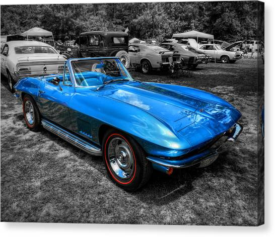 Blue '67 Corvette Stingray 001 Canvas Print