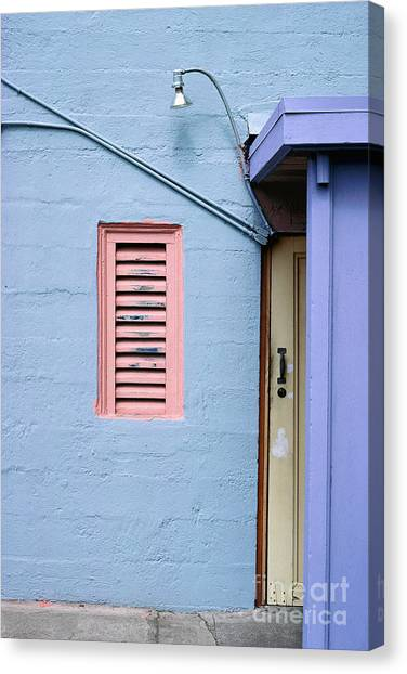 blue abstract building photography - The Blue Wall Canvas Print
