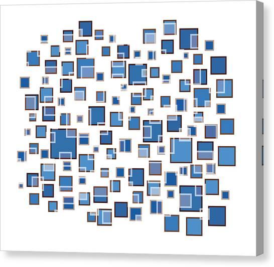 Rectangular Canvas Print - Blue Abstract Rectangles by Frank Tschakert