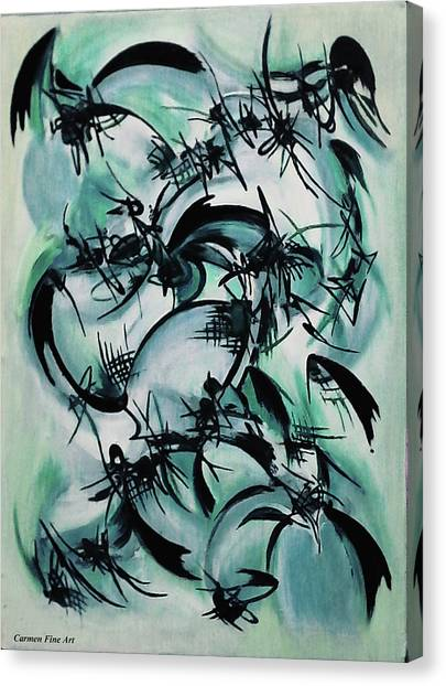 Canvas Print featuring the painting Blue Abstraction by Carmen Fine Art