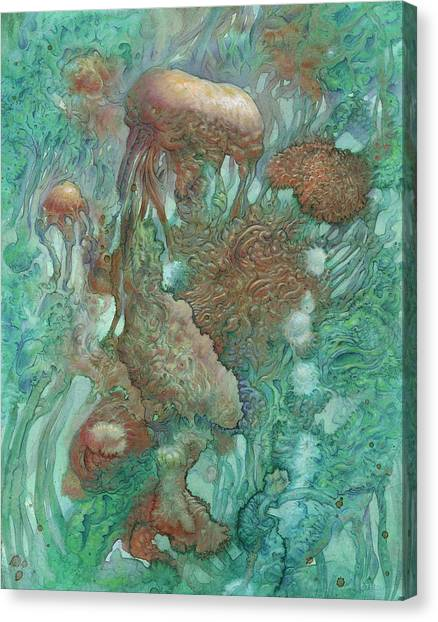 Squids Canvas Print - Blue Alternator, Primordial Abstraction 2 by Ethan Harris