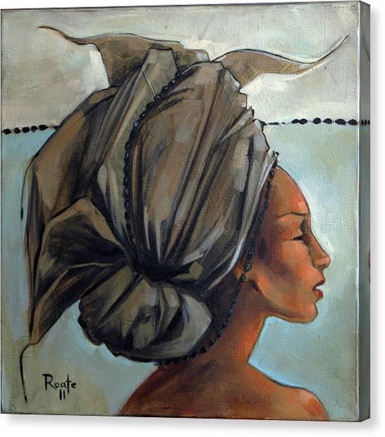 Blue And Black Bead Headdress Canvas Print