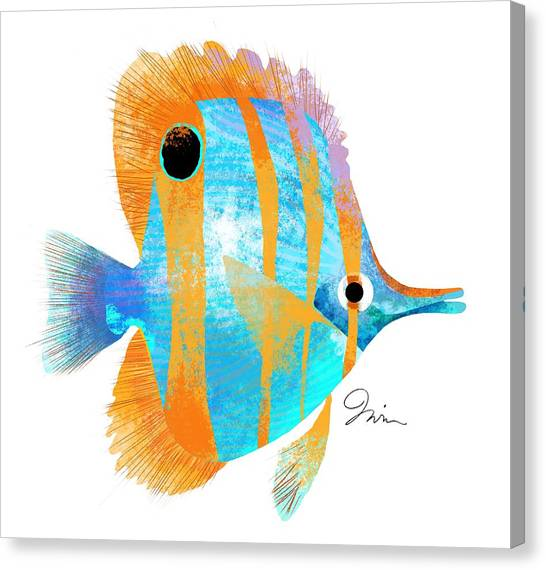 Shrimping Canvas Print - Blue And Gold Fish by Trevor Irvin