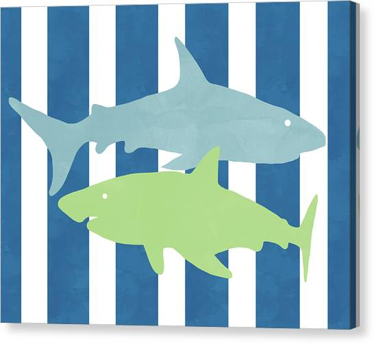 Nurse Sharks Canvas Print -  Blue And Green Sharks- Art By Linda Woods by Linda Woods