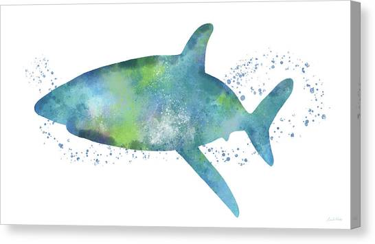Jaws Canvas Print -  Blue And Green Watercolor Shark 1-art By Linda Woods by Linda Woods