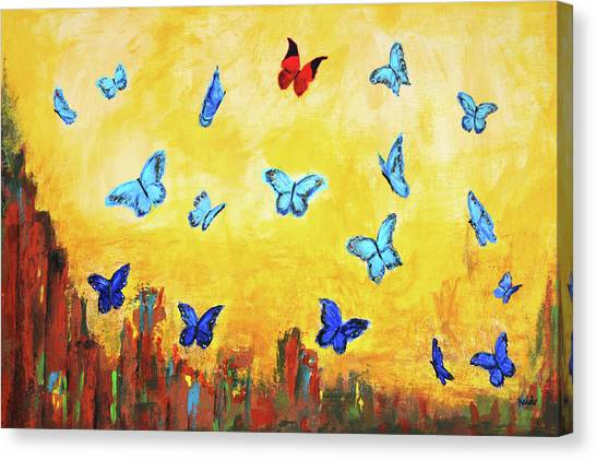 Blue And Red Butterflies Canvas Print