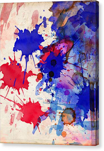 Blue And Red Color Splash Canvas Print