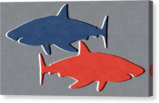 Sharks Canvas Print - Blue And Red Sharks by Linda Woods