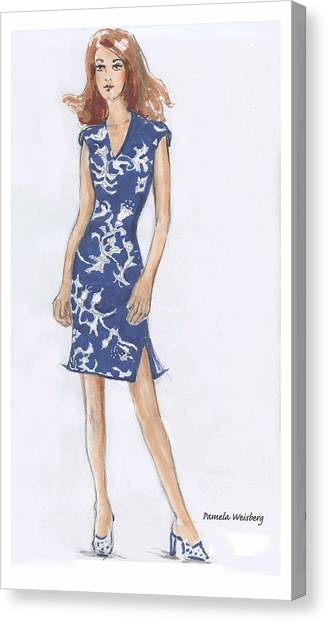 Blue And White Dress Illustration Canvas Print