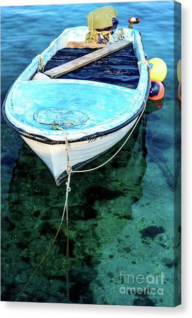 Blue And White Fishing Boat On The Adriatic - Rovinj, Croatia Canvas Print