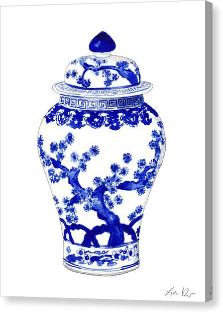 Melons Canvas Print - Blue And White Ginger Jar Chinoiserie 10 by Laura Row